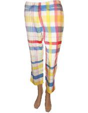 ESCADA Design Womens Check Cotton Silk Casual 7/8 Crop Trousers Pants sz 38 AL31