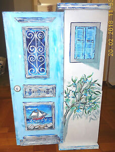 Bathroom Wall Cabinet Hand painted Handmade 76*33*20 cm (plywood & Acrylics)