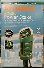 Sylvania 6 Outlet Power Stake with Timer & Photocell Sensor - 6 ft cord