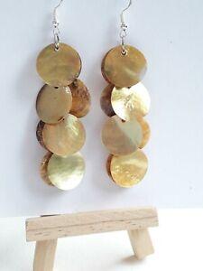 Mustard Shell discs Mother Of Pearl Earrings in 925 Sterling Silver Hooks
