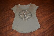 A16- Miss Me Distressed Green Studded 100% Rayon Top Size Small