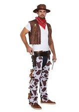 Cowboy Fancy Dress Up Outfit Costume Chaps Bandana Hat Waistcoat Male Adult NEW