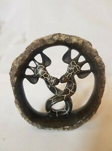 African Shona art, giraffe lovers stone sculpture