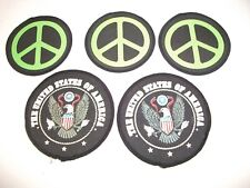 Vintage Cloth Sew On Patches & Peace Symbol ~ The United States Of America Eagle