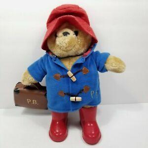 "Rainbow Design Paddington Bear Plush Red Boots Hat Amd Suitcase 14"" Blue Coat"