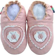 shoeszoo heart flower pink 12-18m S soft sole leather baby shoes