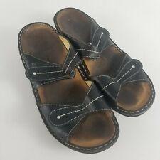 FINN COMFORT Womens Size 9/9.5 EUR 40 Sandals 2 Straps Leather Black Slip On