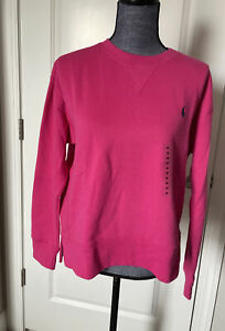 NWT Polo Ralph Lauren Women's Sweatshirt Fleece Cotton Blend Pony Pink Fuchsia M