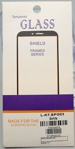 Tempered Glass Screen Protector for LG K7 Cell Phone - White Frame/Border