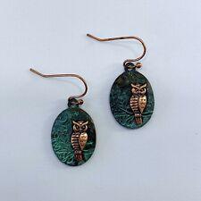 Patina Copper Finished Animal Bird Owl Design Oval Shape Drop Dangle Earrings