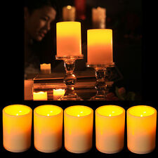 5x Flickering Flameless Resin Pillar LED Candle Lights w/Timer for Wedding Party