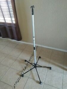 Roll able IV Pole Stand Sharps Pitch-It  Adjustable Height Double Hook