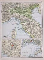 1894 Landkarte Northern Italien Toskana Emilia ROM Neapel Halterung Vesuv Umbria