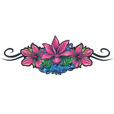 """Lower Back"" Temporary Tattoo, Dark Pink Flowers, USA Made"