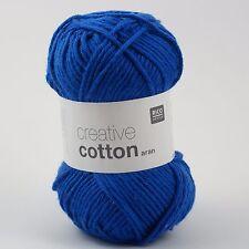 Rico Creative Cotton Aran - 100% Coton Tricot & Crochet Yarn-Bleu Royal 39