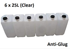 6 x 25 LITRE 25L PLASTIC BOTTLE JERRY WATER CONTAINER CANISTER ANTI GLUG - CLEAR