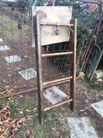Vintage Wood Ladder 3ft + Rustic Flowers Pots Pans Quilts primitive deco