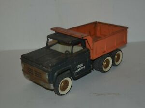 "Vintage 1960s Structo Hydraulic Dump Truck Pressed Steel 14""  Blue & Orange"