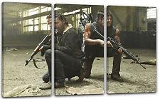 3-teilig 120x80cm Lein-Wand-Bild: The Walking Dead Rick Grimes Daryl Dixon