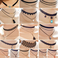 LACE CHOKER NECKLACE CHARM NECKLACE BLACK TATTOO CHOKER PUNK DOUBLE LAYER CHAIN