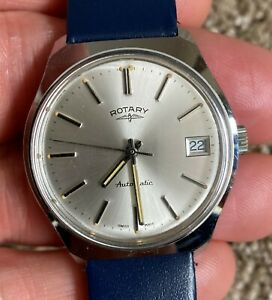 Vintage Rotary Gents Automatic Watch. Silver Dial Working Order Hirsch Strap