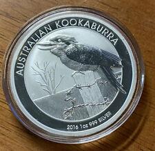 2016 Australian Kookaburra $1 Dollar 1oz .999 Silver In MINT Capsule