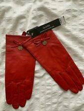 Dorothy Perkins Red Leather Gloves with gold detail & bow. One Size. New + tags