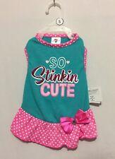 "Smoochie Pooch ""So Stinkin Cute"" Aqua Green & Pink Polka Dot Ruffle Dress Small"
