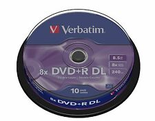 ($0 p&h) Verbatim blank DL 8.5 dvds on sale DVD+R DL 8.5GB 10Pk 8x # 43666