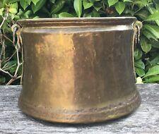 Large Antique Hammered Brass Planter Wood Bucket Side Handles 1.750kg