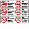 6 Pack NO SMOKING IN THIS VEHICLE Car Window Bumper Warning Vinyl Sticker Decals