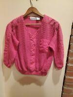 Vtg Shenanigans Crop Top Sweater Pink 90s Sz Large