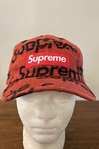 SUPREME FRAYED LOGOS DENIM CAMP CAP RED SS21 WEEK 10 (IN HAND) AUTHENTIC