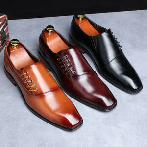 Japanese Style Mens Square Toe Lace Up Business Formal Dress Suit Oxfords Shoes