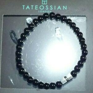 TATEOSSIAN  LONDON L Black Agate Stretch Mens Bracelet Stainless Steel RRP 23cm