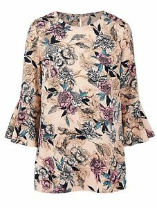 Ladies CAPSULE Fluted Bell Sleeve Nude Floral Blouse Smart Casual Party 20 22 32