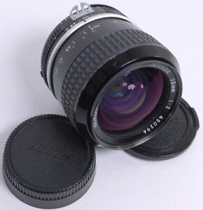 Nikon Nikkor 28mm f2 Ai fast prime wide angle manual user w/caps user vintage NR