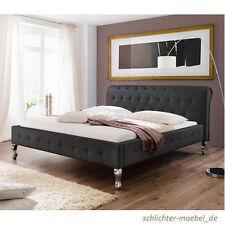 BAROCK Polsterbett Designerbett Bett Kunstlederbett Barockbett - 140x200 Schwarz