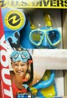 NEW US Divers Youth Go Pro Ready Silicone Snorkeling Set Medium O/B
