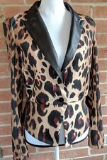 Kardashian Kollection Women's Jacket Size Medium Animal Print Shiny Lapel