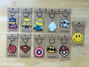 Cute Cartoon Key ring  Chain Party Kids Gift Charm Batman Spiderman Mario