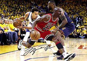 Michael Jordan LeBron James Stephen Curry Basketball Signed Autograph A4 Poster