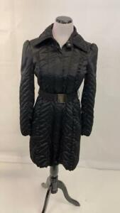 White House Black Market Coat Size 2 Womens Satin W/ Belt Black Coat Jacket