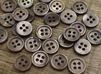 30pc 16L 10mm Smoke Grey Real Pearl Shirt Shell Button w/rim Trims Crafts DIY