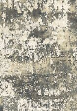 Bangor Area Rug Runner Modern Abstract Distressed Black Gray Cream Matching