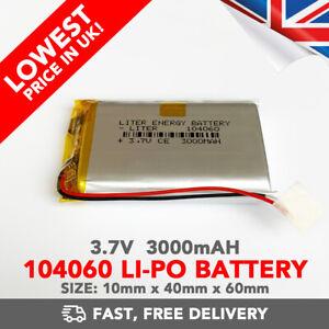 3.7V 3000mAh Li-Po Battery (104060) Rechargeable High Capacity Tablet PC +PCM6