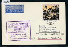 95481) LH FF Hannover - Kopenhagen 1.4.71, Karte ab DDR
