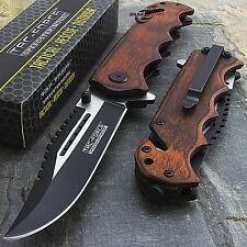 "8"" TAC FORCE WOOD 2-TONE SPRING ASSISTED FOLDING POCKET KNIFE Blade Assist Open"