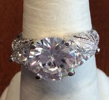 Ring Size 8 5.2 Grams Sterling Silver 3 Stone Simulated Diamond