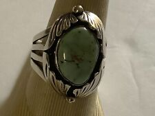 Vintage Navajo Ben BeGaye Sterling Silver Turquoise Ring Size 11